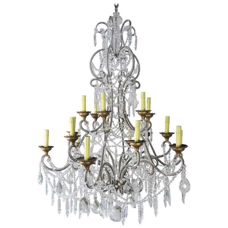 '12' Light Monumental Italian Crystal Beaded Chandelier $12,000