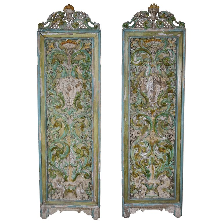 19th Century Italian Painted Carved Wood Panels, Pair $3,800