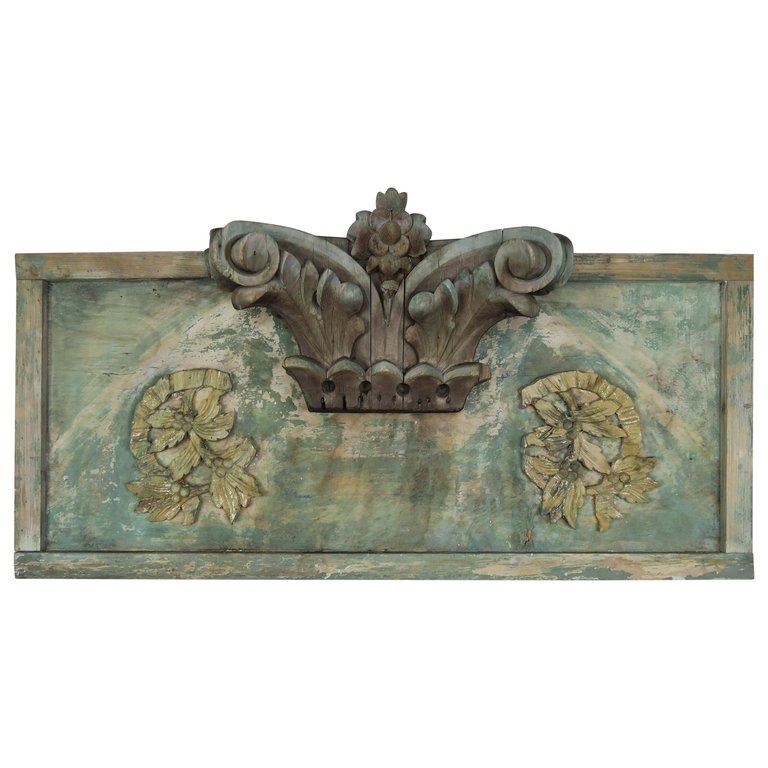 Carved Wood Painted Panel with Capital Element $1,800