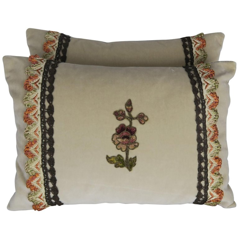 Custom Accent Pillows with Antique Flower Appliques, Pair $595