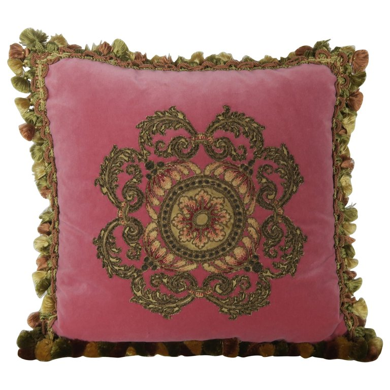 Metallic Appliqued Pink Velvet Pillow with Tassels by Melissa Levinson $1,500