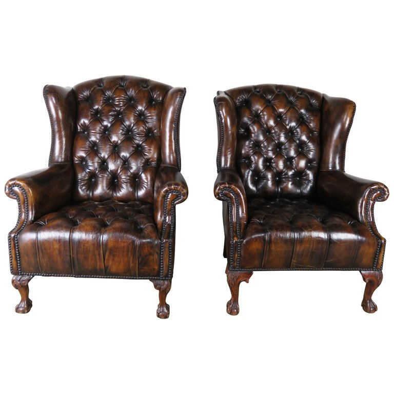 Pair of English Queen Anne Style Leather Tufted Armchairs $7,500