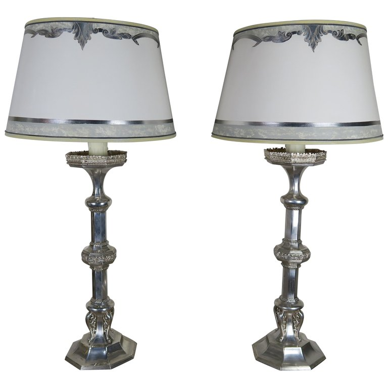 Pair of English Sheffield Silver Plated Lamps with Custom Parchment Shades $4,800