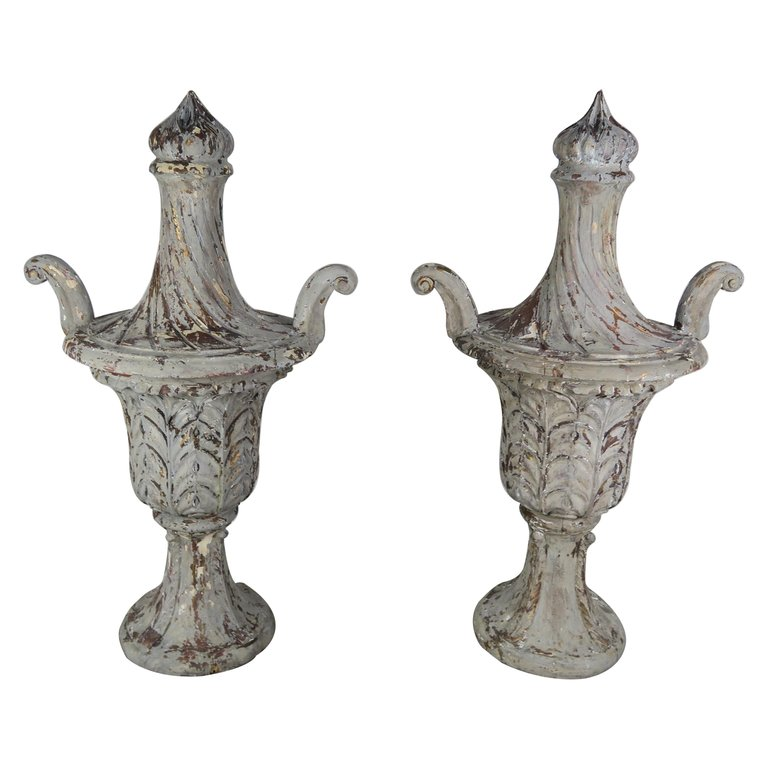 Pair of Grand Scale Carved Wood Painted Flamed Finial Urns $4,800