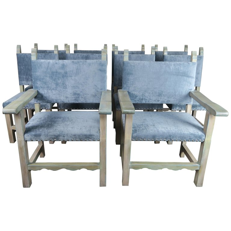 Set of 10 Spanish Painted Walnut Dining Chairs with Aqua ...