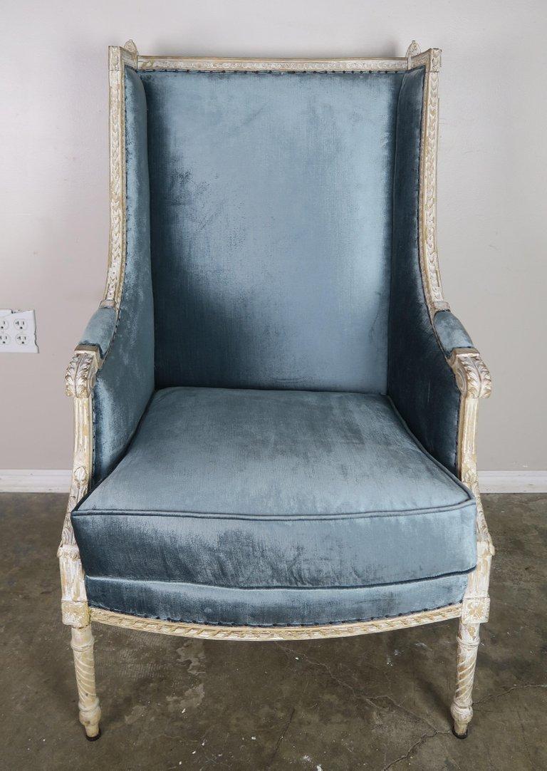 19th C. Swedish Painted Blue Velvet Armchair