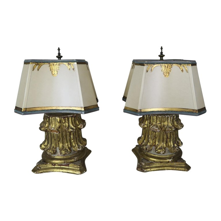 19th Century Giltwood Capital Lamps with Parchment Shades, Pair