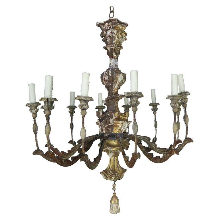 19th Century Italian Giltwood and Painted Chandelier $3,800