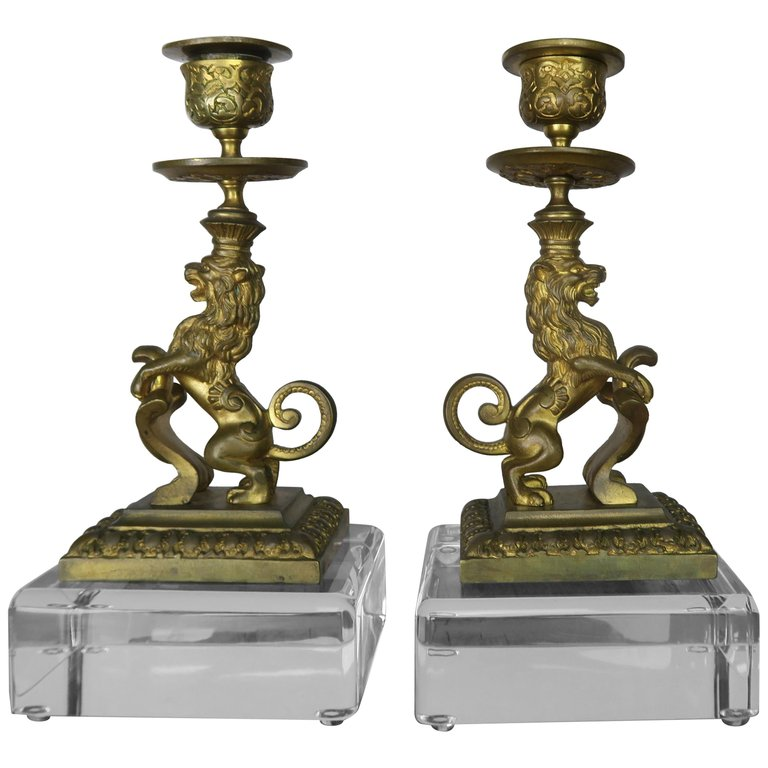 Bronze Lion Candleholders on Lucite Bases, Pair $1,250