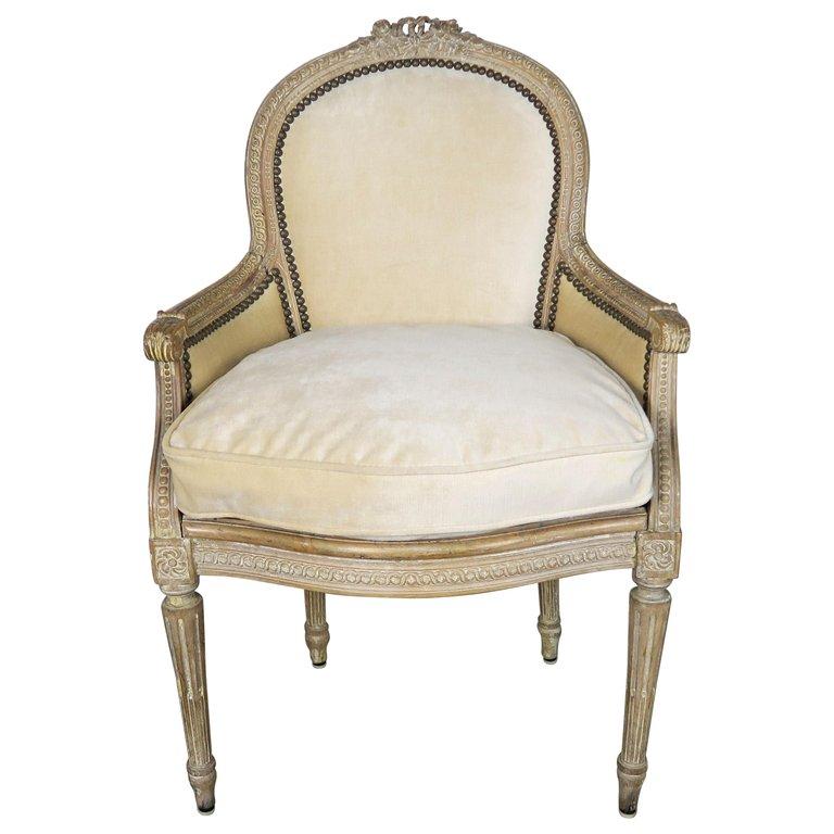 French Louis XVI Style Velvet Vanity Chair, circa 1930 $1,850