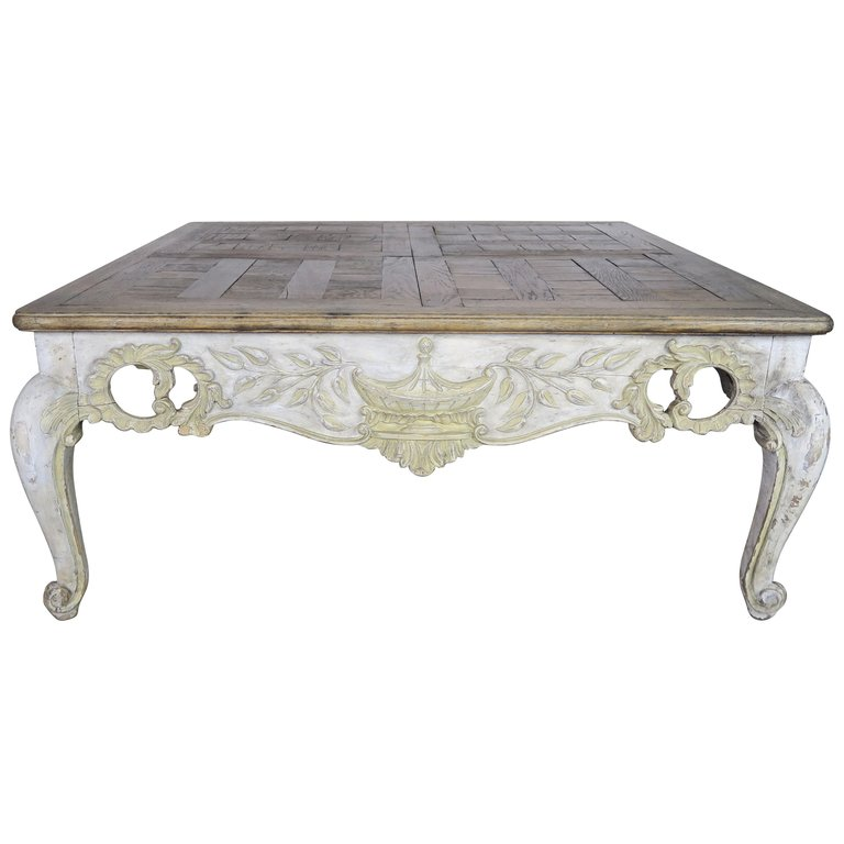 French Provintial Style Painted Coffee Table with Parque Top