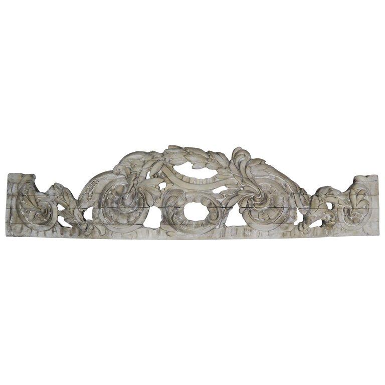 Hand Carved Italian Overdoor Fragment $1,800