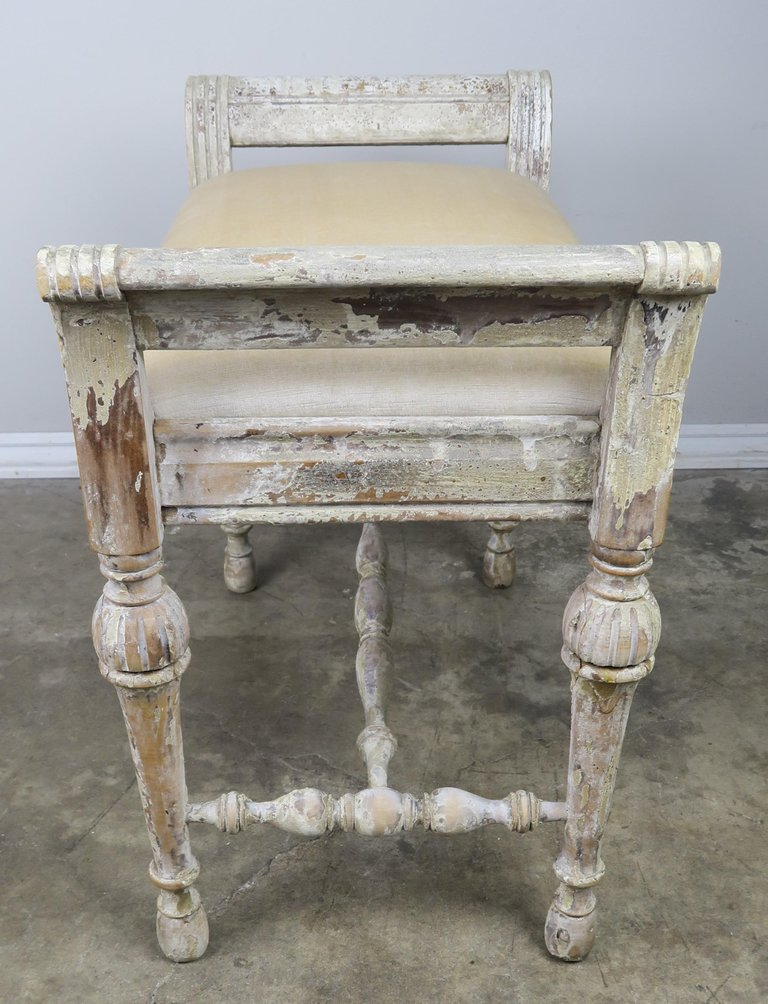 Amazing Swedish Painted Velvet Upholstered Vanity Bench Bralicious Painted Fabric Chair Ideas Braliciousco