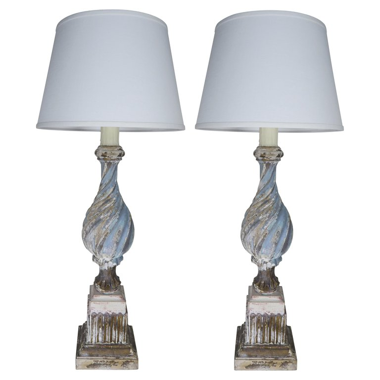 Italian Carved Periwinkle Lamps with Linen Shades, Pair $2,800