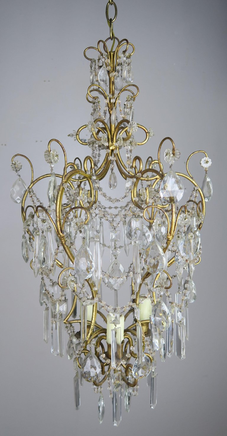 Italian Gilt Metal Crystal Chandelier C. 1930's $1,850