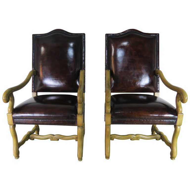 Italian Tuscan Style Leather Upholstered Armchairs Pair Melissa