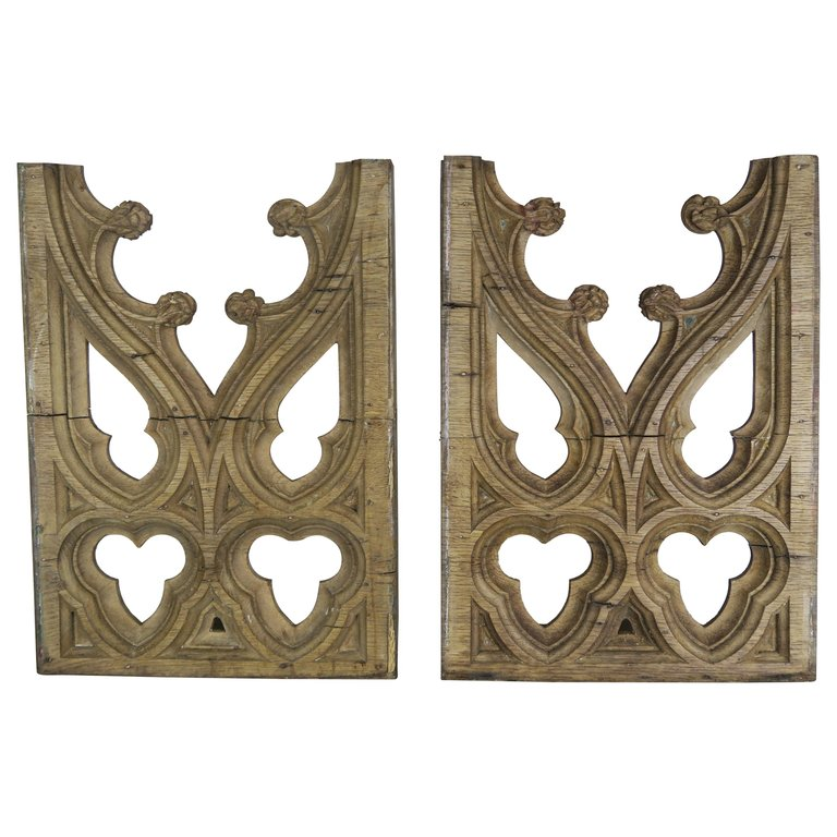 Pair of 19th Century Italian Gothic Style Wood Fragments $1,250