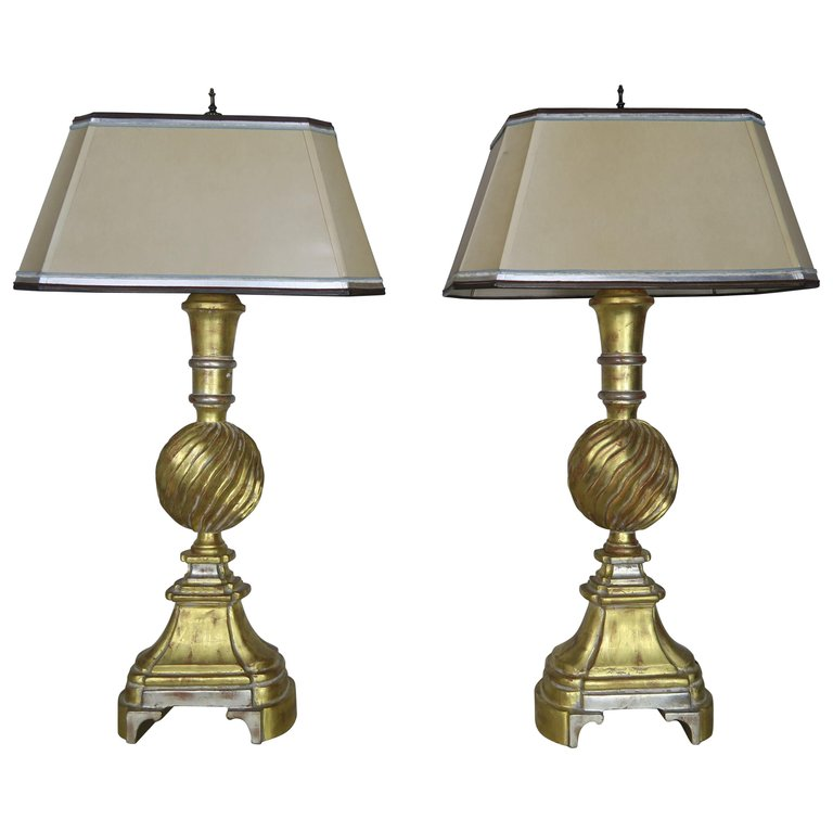 Pair of 22K Gold & Silver Leaf Lamps w: Parchment Shades $3,500