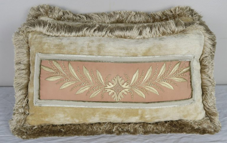 Pair of Antique Embroidered Silk and Velvet Pillows Designed by Melissa Levinson $1,250