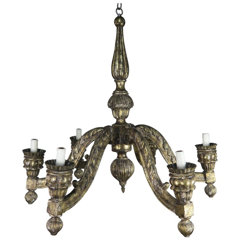 Six Light Italian Borghese Finished Chandelier