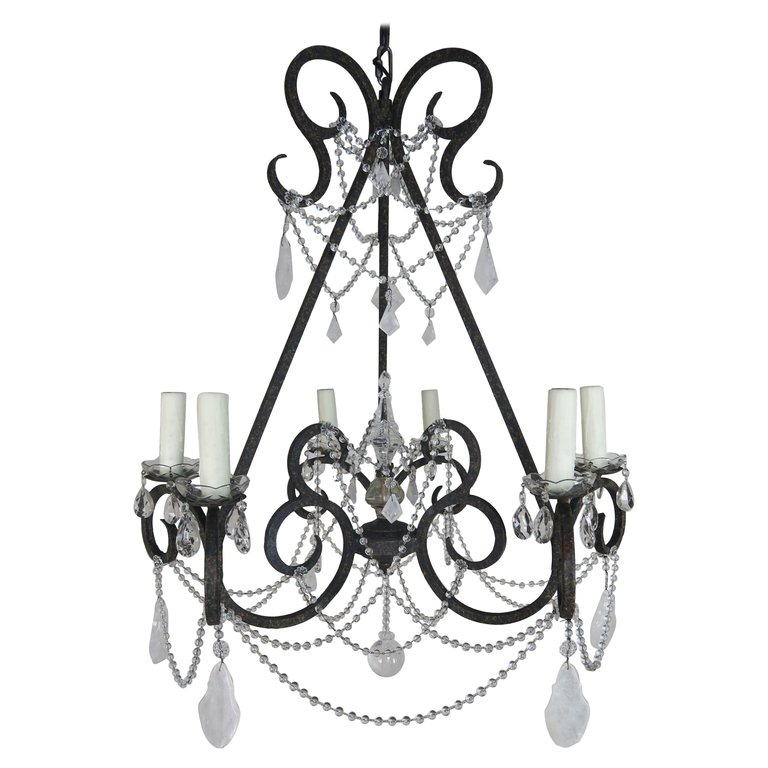 Six-Light Rock Crystal Wrought Iron Chandelier $5,800