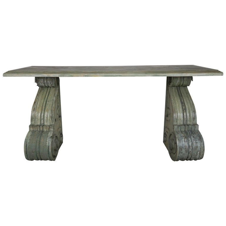 Swedish Painted Console Table with Antique Corbel Bases $3,800