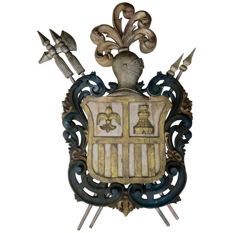 Carved Spanish Coat of Arms C. 1930's $1,950