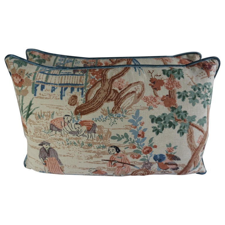 Chinoiserie Printed Linen Pillows, a Pair $595