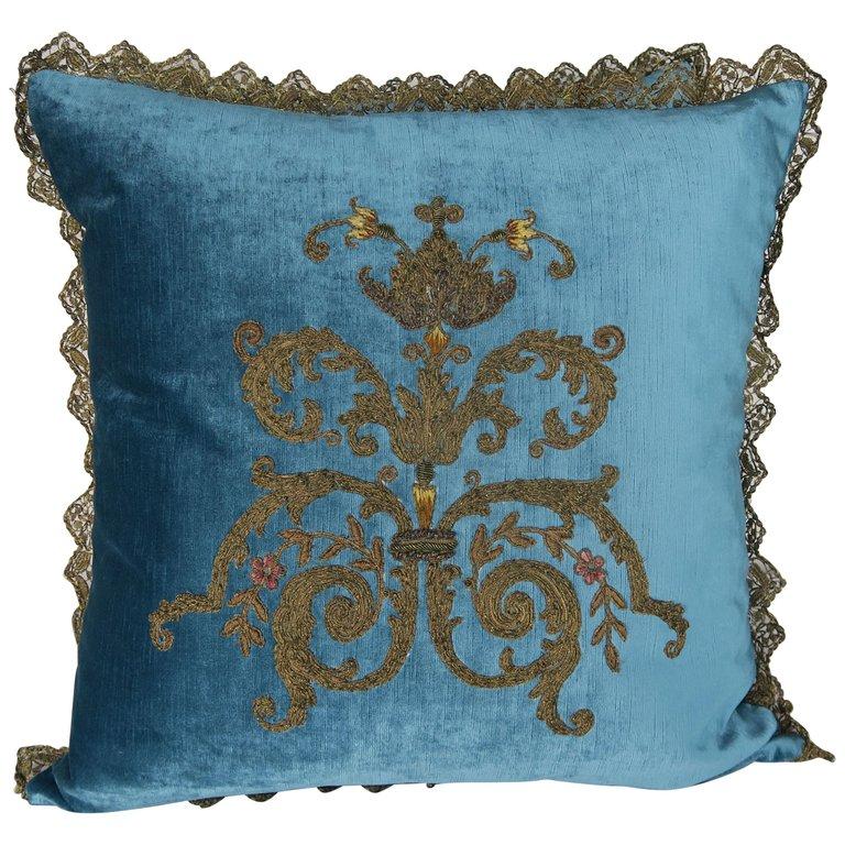 Custom Pillows with 19th Century Gold Metallic Appliqués by Melissa Levinson $4,800