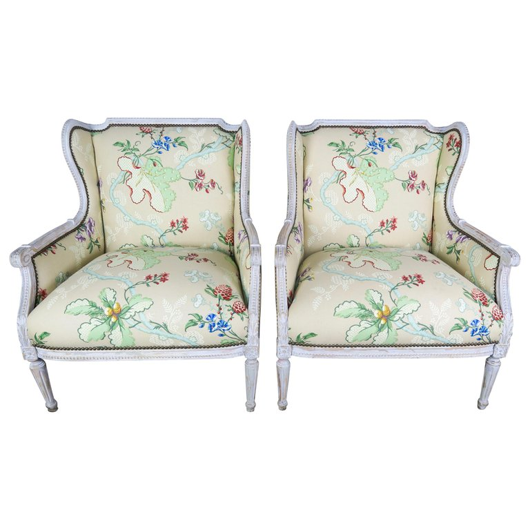French Painted Cowtan and Tout Upholstered Wingback Armchairs