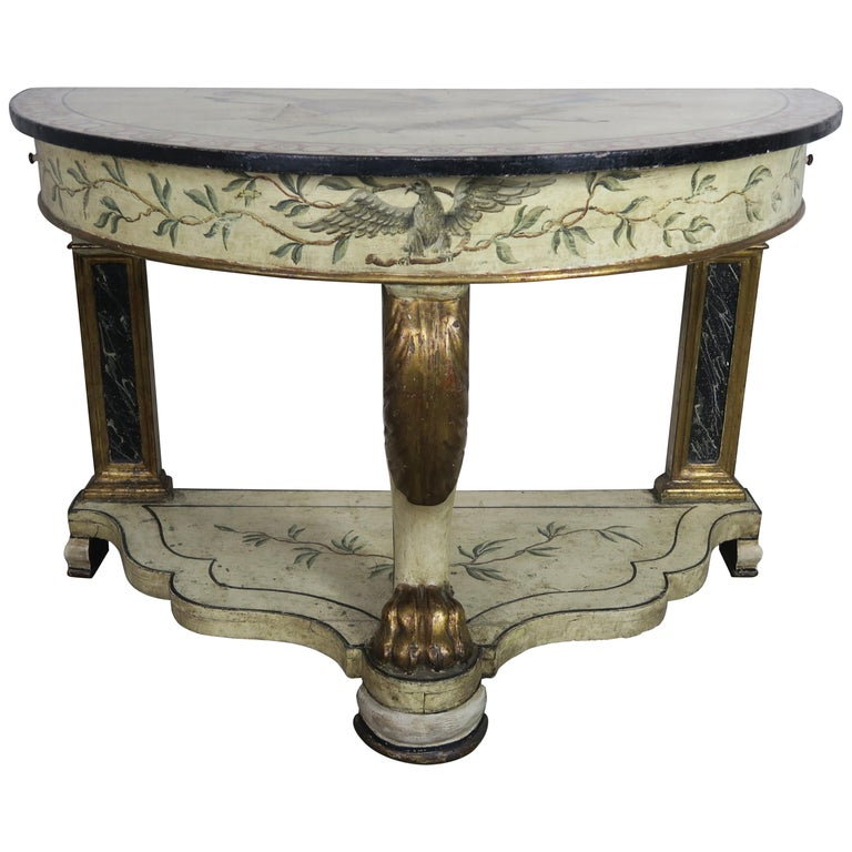 Hand Painted and Parcel Gilt English Console Table $4,500