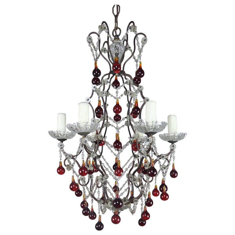 Italian Six-Light Crystal Beaded Chandelier with Vibrant Colored Drops $2,800