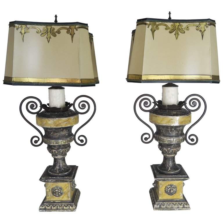Neoclassical Style Carved Urn Lamps with Parchment Shades, a Pair $2,800