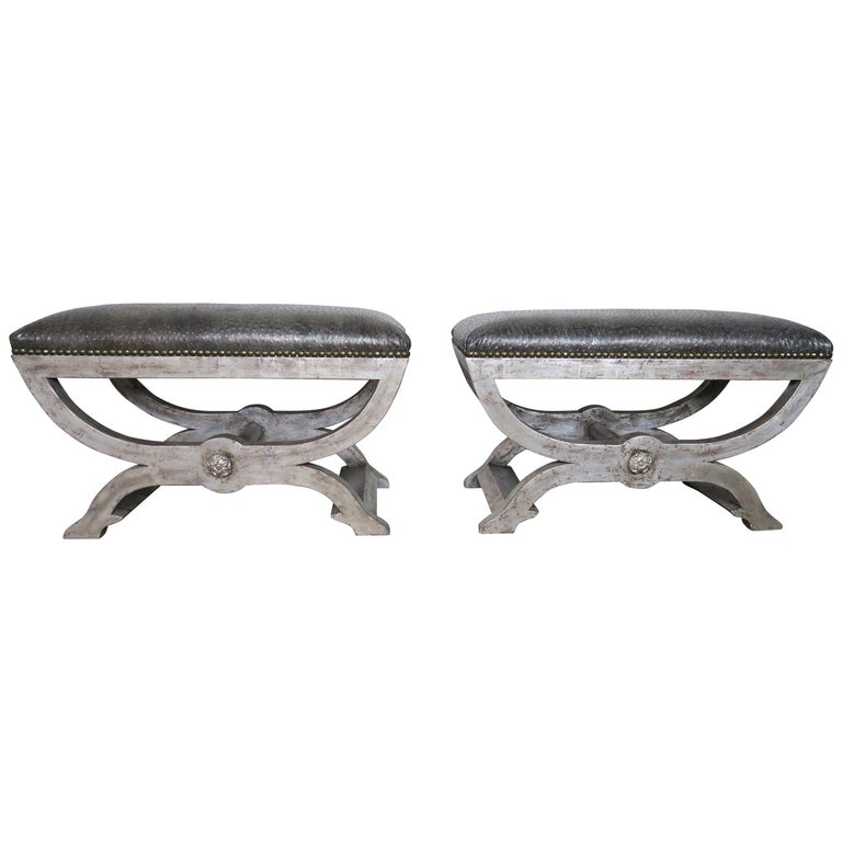 Ostrich Embossed Silvered Benches with Nailhead Trim Detail $4,800