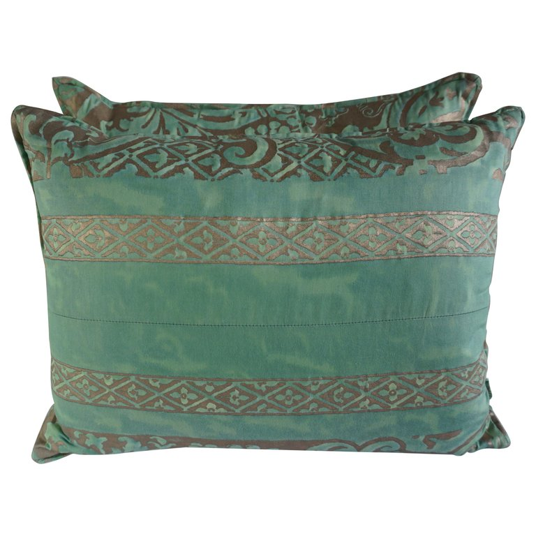 Pair of Custom Aqua Green Fortuny Pillows $495