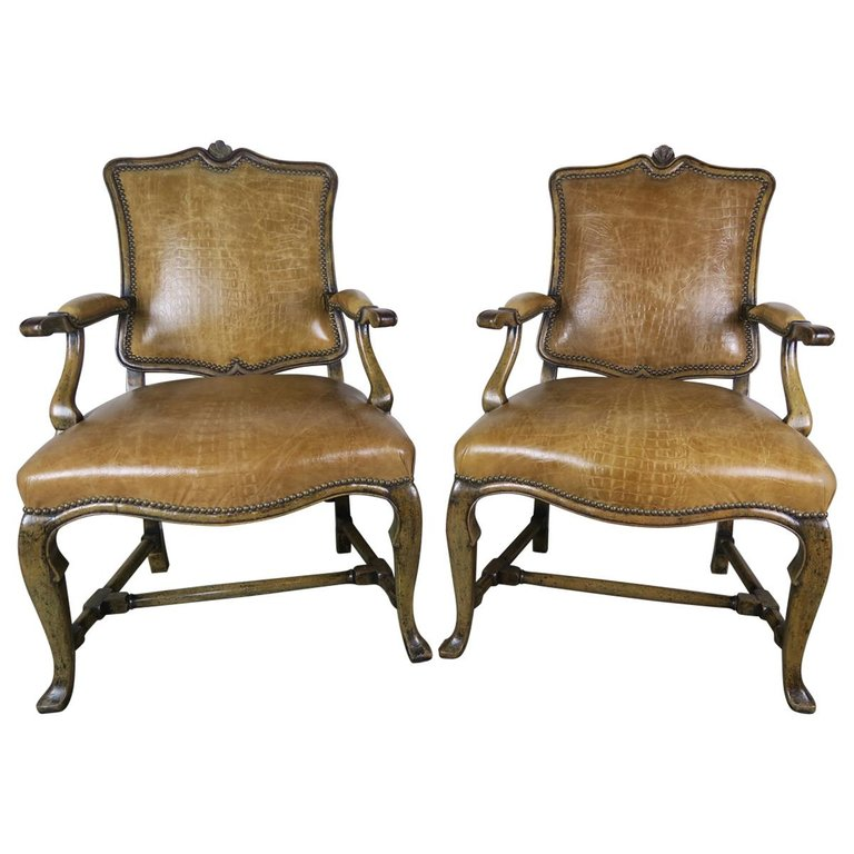 Pair of English Embossed Crocodile Patterned Leather Armchairs