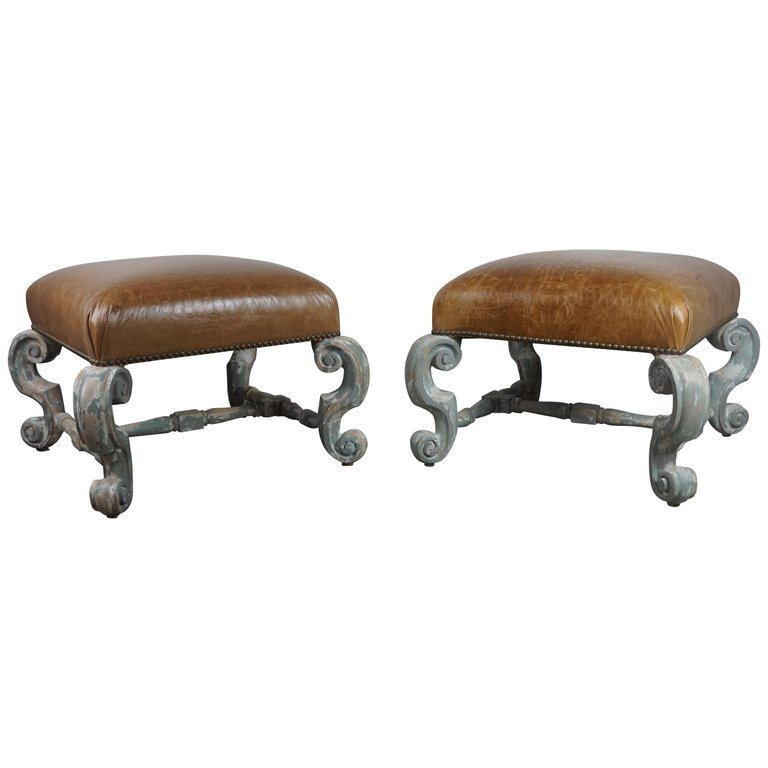 Pair of French Painted Benches with Leather Upholstery $3,800