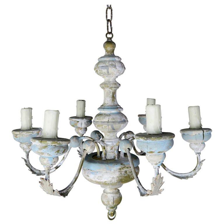 Six Light French Painted Chandelier C. 1930's $1,800