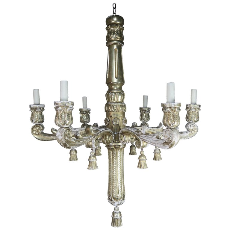 Six-Light Silver Gilt Italian Chandelier with Tassel