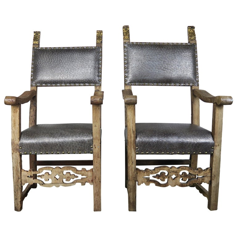 18th Century Spanish Armchairs with Giltwood Finials