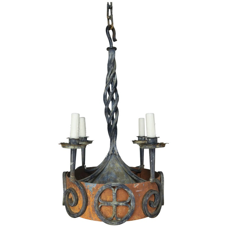 19th C Spanish Gothic Iron Painted Chandelier $2,800