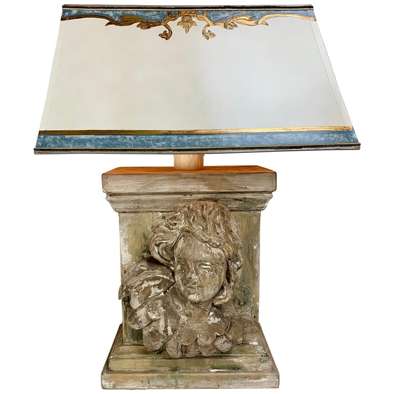 19th C. Carved Cherub Face Lamp w: Custom Parchment Shade $1,850