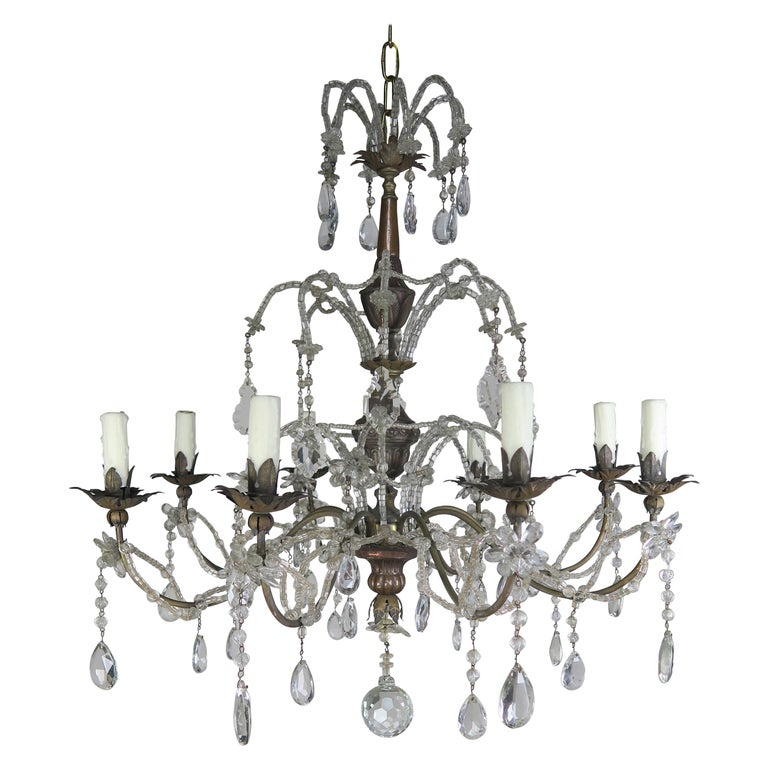 8-Light Italian Crystal Brass Chandelier, circa