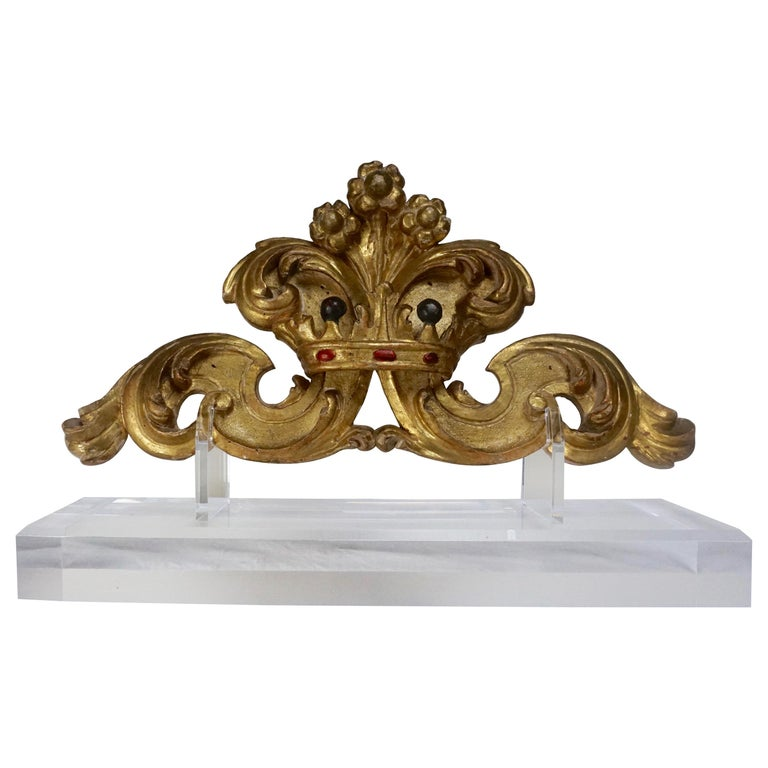 Antique Italian Giltwood Carving with Crown on Lucite Base $1,250