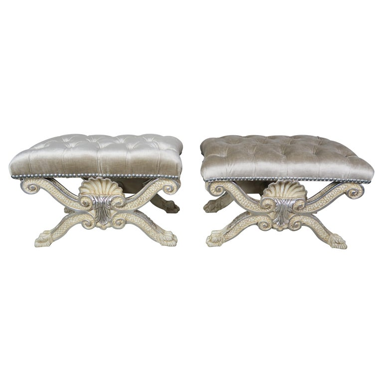 Carved Painted & Silver Gilt X Shell Benches w: Platinum Velvet Upholstery $4,800