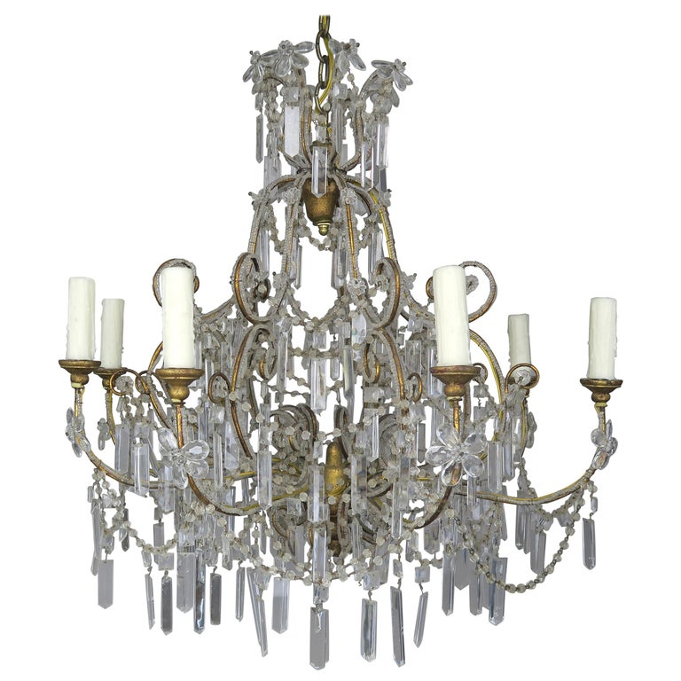Eight Light Chrystal Beaded Chandelier with Flowers