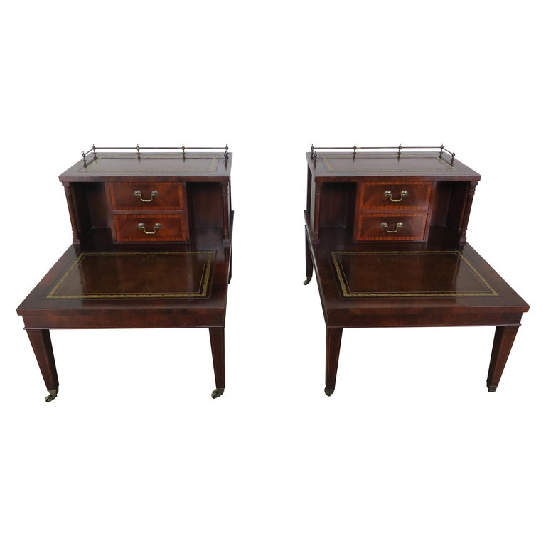 English Leather Two-Tiered Tables, Pair $2,495
