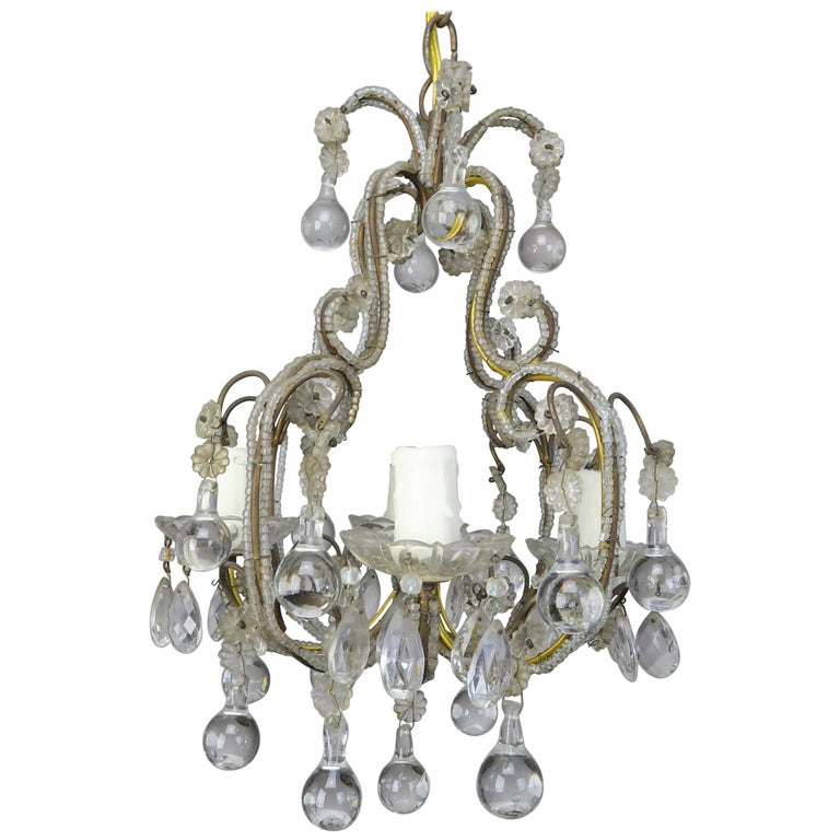 French Crystal Beaded Chandelier wi