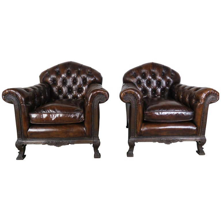 French Deco Style Leather Tufted Armchairs, Pair $7,500