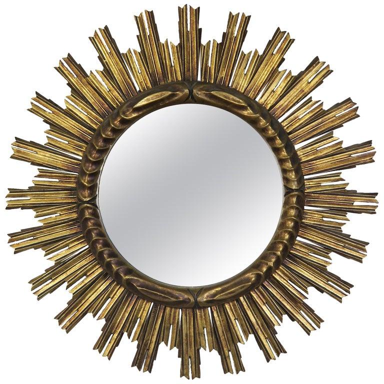 Italian Gold Leaf Sunburst Mirror, circa 1930s